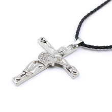 classic Johnny Hallyday pendant necklaces figure commemorate cross guitar rope chain necklace jewelry for remember Collier Femme