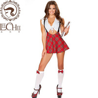 2016 Autumn Newest Women Sleepwear Suspender Skirt Sexy Lingerie Female Uninform Chemise Nightwear Erotic Lingerie Student