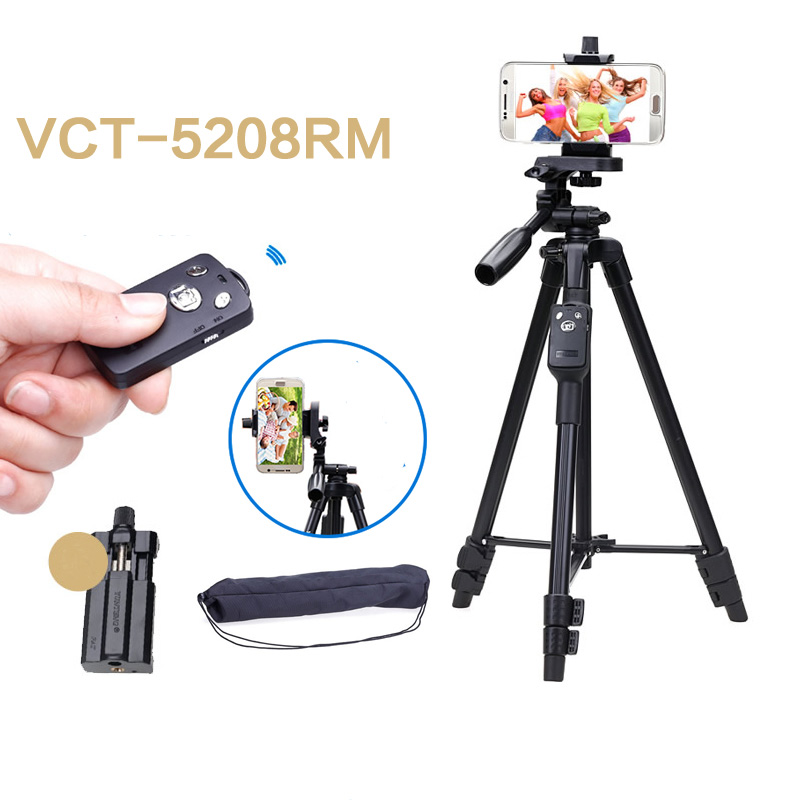 Selfie Video YUNTENG VCT 5208 RM Aluminum Tripod With 3-Way Head & Bluetooth Remote For Camera Phone Holder Clip