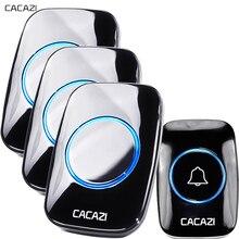 CACAZI New Wireless Doorbell Waterproof 300M Remote EU AU UK US Plug Door Bell Chime 110V 220V battery 1 transmitter 3 receiver