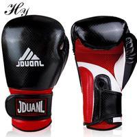 Kick Boxing Guantes de boxeo de Cuero de LA PU Guantes de Manopla Muay Thai karate Taekwondo Deportes De Boxeo Guantes de Entrenamiento de Boxeo Guante Azul Rojo Negro