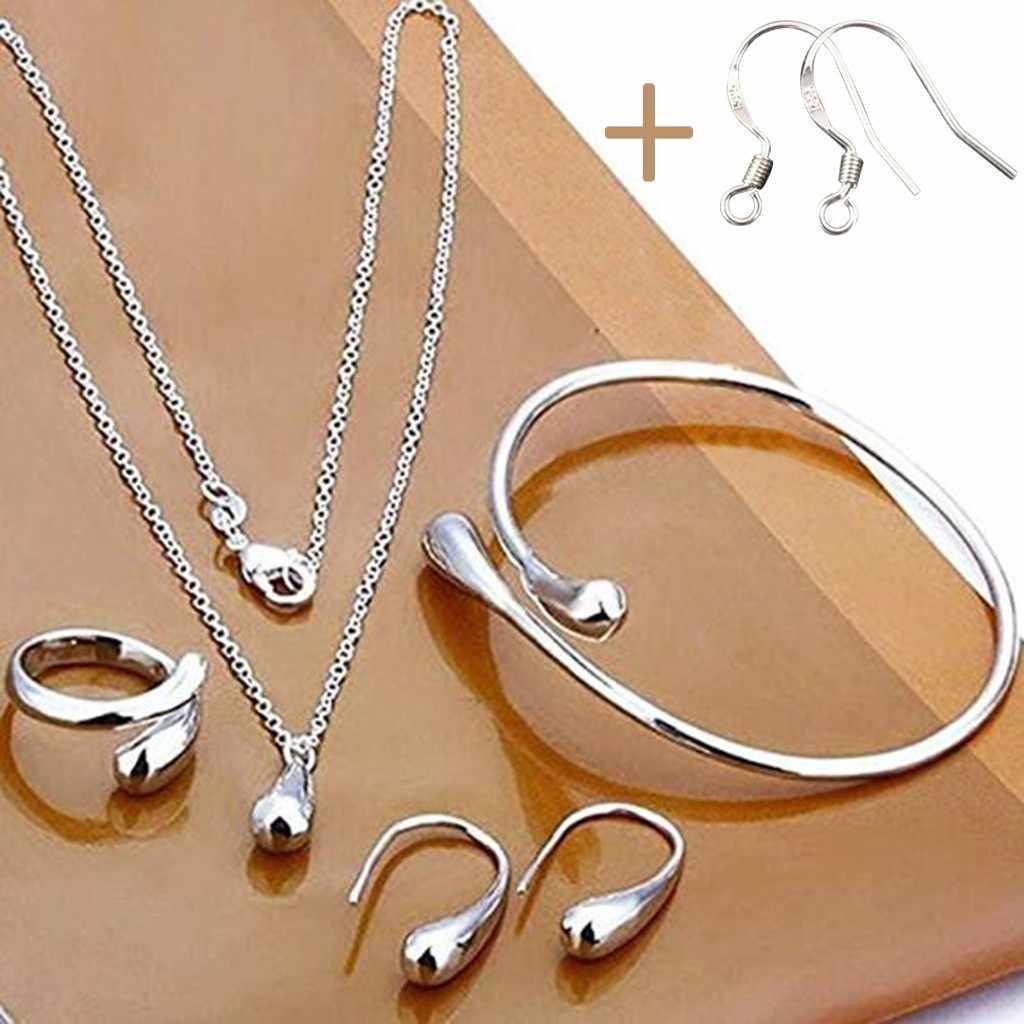 Moda Nupcial Do Casamento Set Jóias Stamped 925 Prata Gota de Água + Pulseiras + Anéis Colar + Brincos Conjuntos para As Mulheres