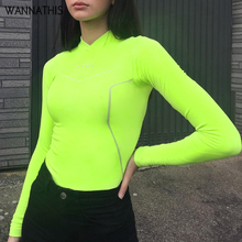 WannaThis Long Sleeve Neon Green T-shirt  Print V-Neck Solid Stretchy Slim Fashion Casual Streetwear Autumn New 2019 Women Top