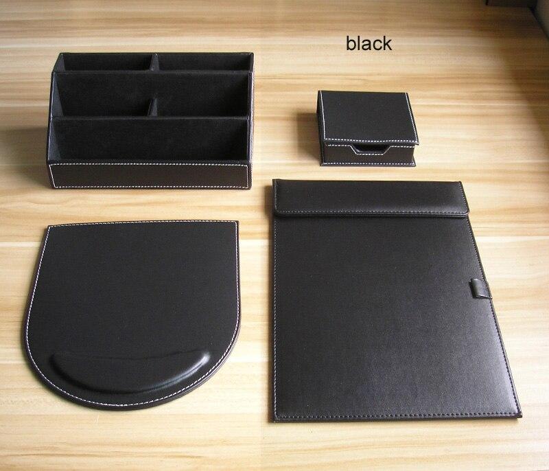 PU Leather Wood Multifonctional Desk Stationery Organizer Holder Note Memo Case Office Desk Stationery Items Black Brown K251