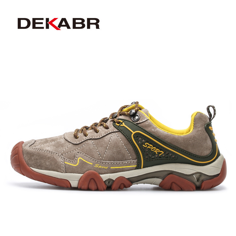 DEKABR Men New Outdoor Hiking Shoes Breathable Suede Leather Sports Hiking Shoes Anti-Slip Hunting Mountain Climbing Shoes winter men s outdoor cotton warm sports hiking shoes sneakes men anti slip climbing athletic shoes camping chaussures trekking