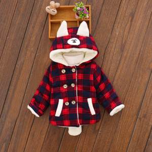 Jacket Coat Warm Newborn Infant Baby-Girl Winter Plaid Hooded Tops Long-Sleeves Fleece