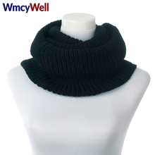 Фотография WmcyWell Winter Scarf Women Infinity Knitted Scarf Cashmere Circle Neck Scarf Women Loop Snood Unsex Solid Crochet Scarf Ring