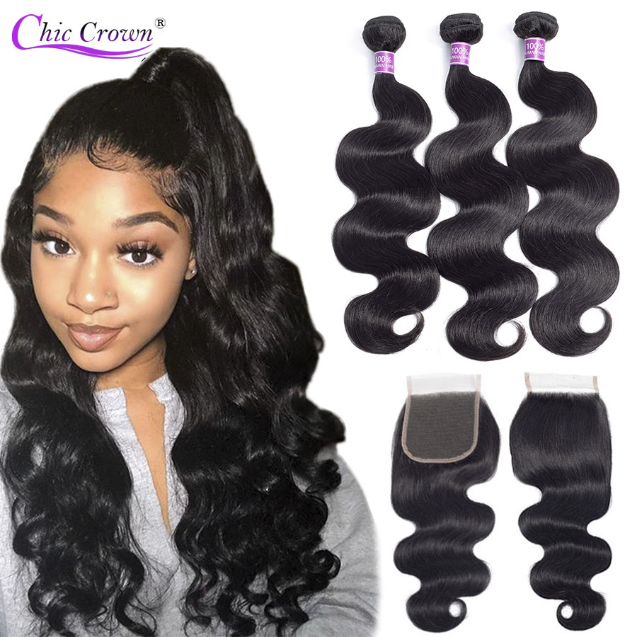Body Wave Bundles With Closure Brazilian Hair Weave Double Weft Chic Crown 100% Human Hair Bodywave 3 Bundles With Closure