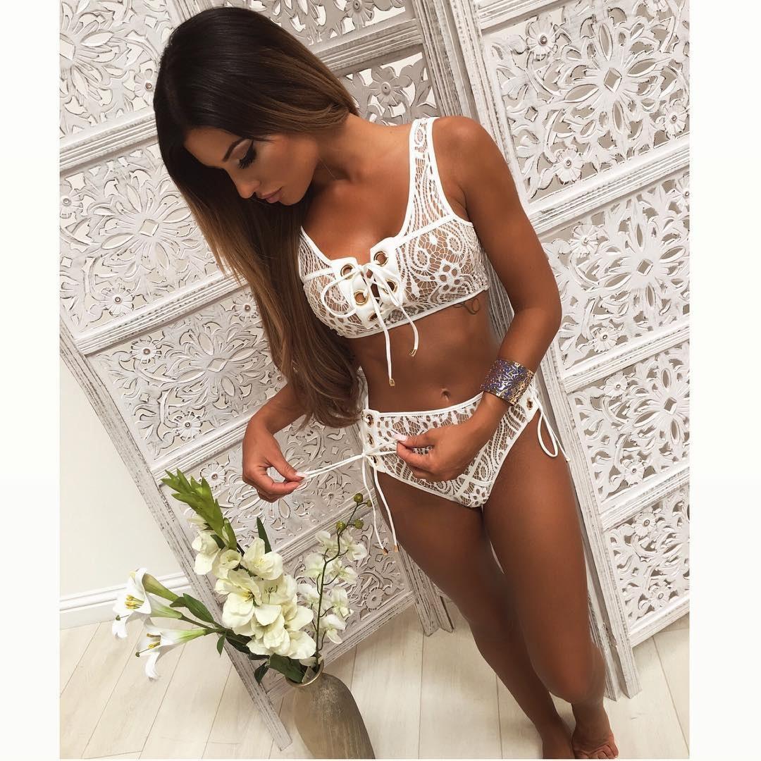 a54ca9a4d72be 2017 Lace High Waist Hollow Out Swimsuit Bathing Suit Bandage Bikini Set  Swimwear 2