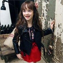 2016 New Girls PU Motorcycle Jacket Children Jacket Kids Fashion Autumn Coat Toddler High Quality Coat