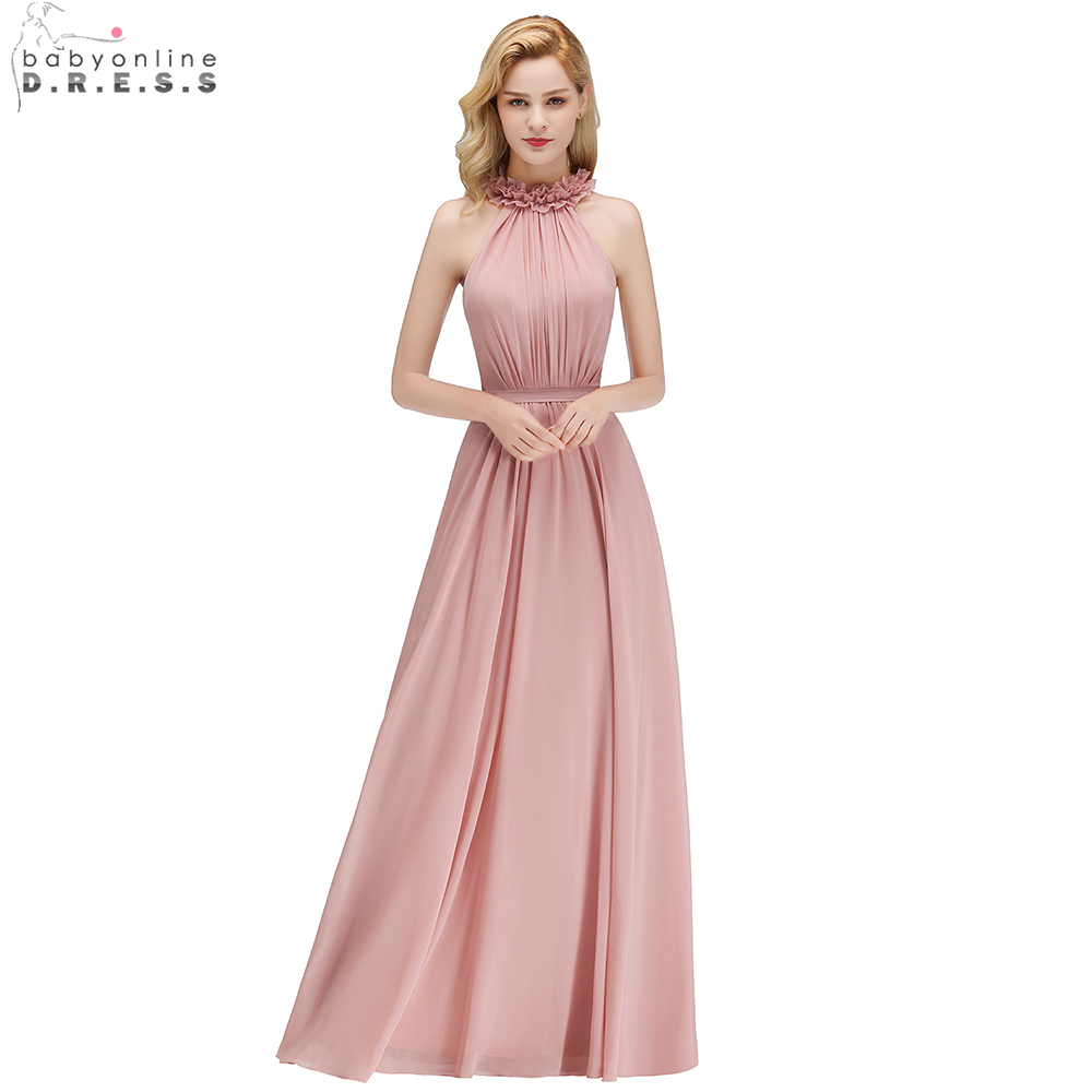Babyonline Ruffles Ruched Chiffon Long   Bridesmaid     Dresses   2019 Sleeveless Wedding Party   Dresses   robe demoiselle d'honneur
