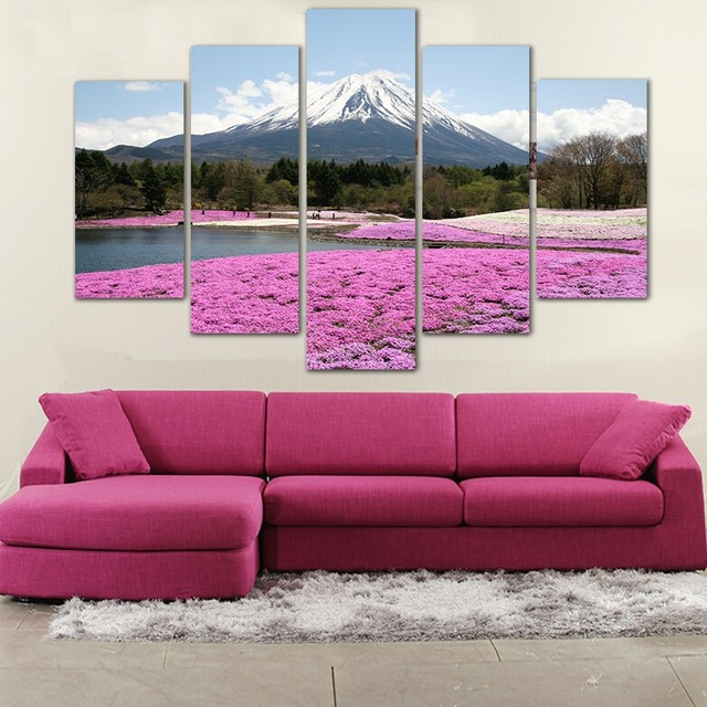 5 pieces beautiful pink flowers Wall Pictures ice mountain art ...