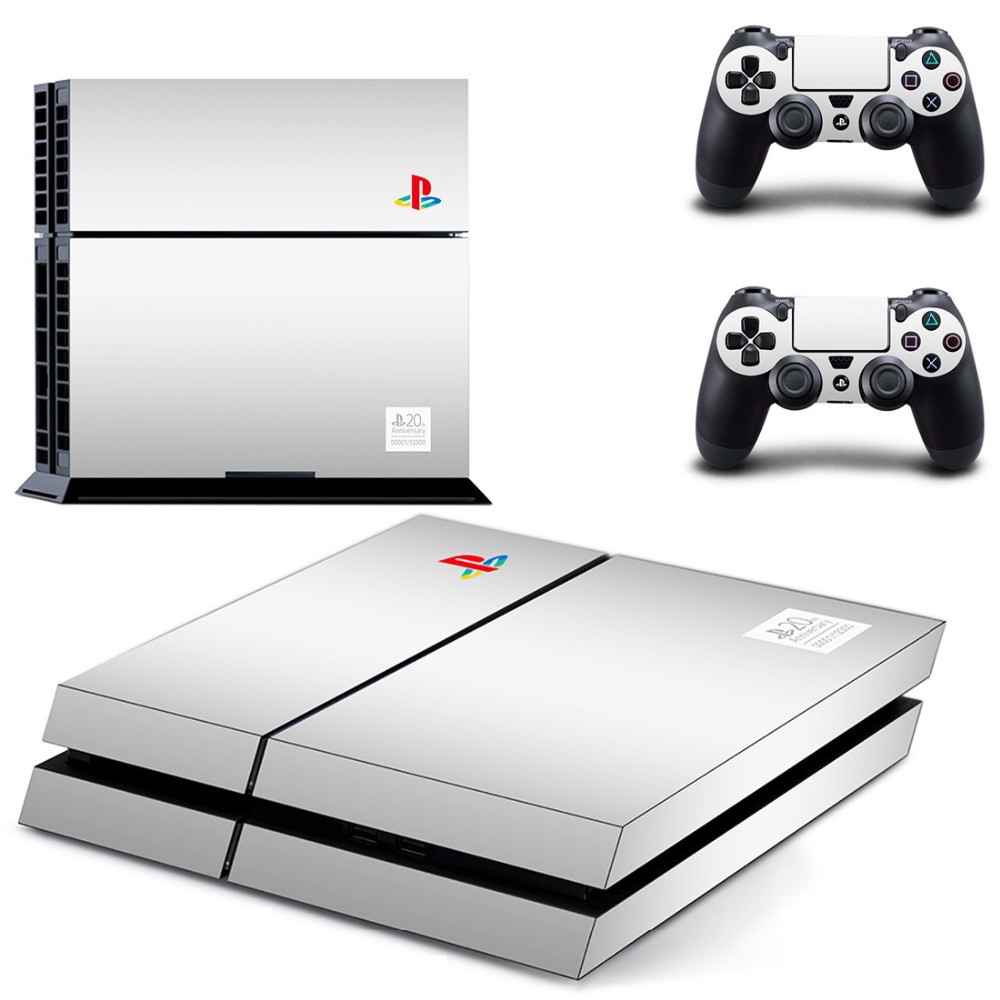 Vinyl Decal Skin Sticker for Playstation 4 Console and Controllers PS4 Skin Sticker - White Color