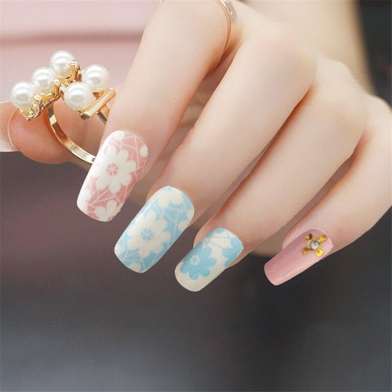 Hot Flower Nail Art Sticker Full Cover Blue Pink Nails Strips