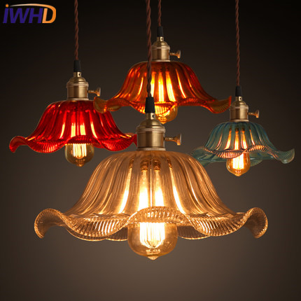 IWHD Vintage Industrial Pendant Lighting Fixtures Loft Style Glass Retro Pendant Lights colror Bedroom Suspended Lamp Hanglamp iwhd loft style creative retro wheels droplight edison industrial vintage pendant light fixtures iron led hanging lamp lighting