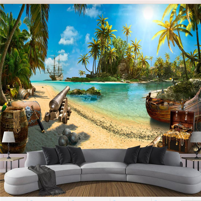 Beibehang Custom Wallpaper 3d papel de parede Photo Wallpaper Magic Pirate Treasure Island Landscape 3d Background 3d wallpaper beibehang custom photo wallpaper 3d