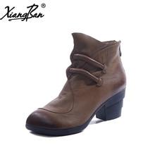 цена Xiangban Thick Heel Women Ankle Boots Pointed Women's Shoes Handmade Genuine Leather 2019 Autumn Winter Black Coffee онлайн в 2017 году