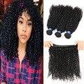 Малайзии девственные волосы курчавые вьющиеся человеческие волосы ткет 4 пачки/lot хорошее качество malaysain афро вьющихся волос девы
