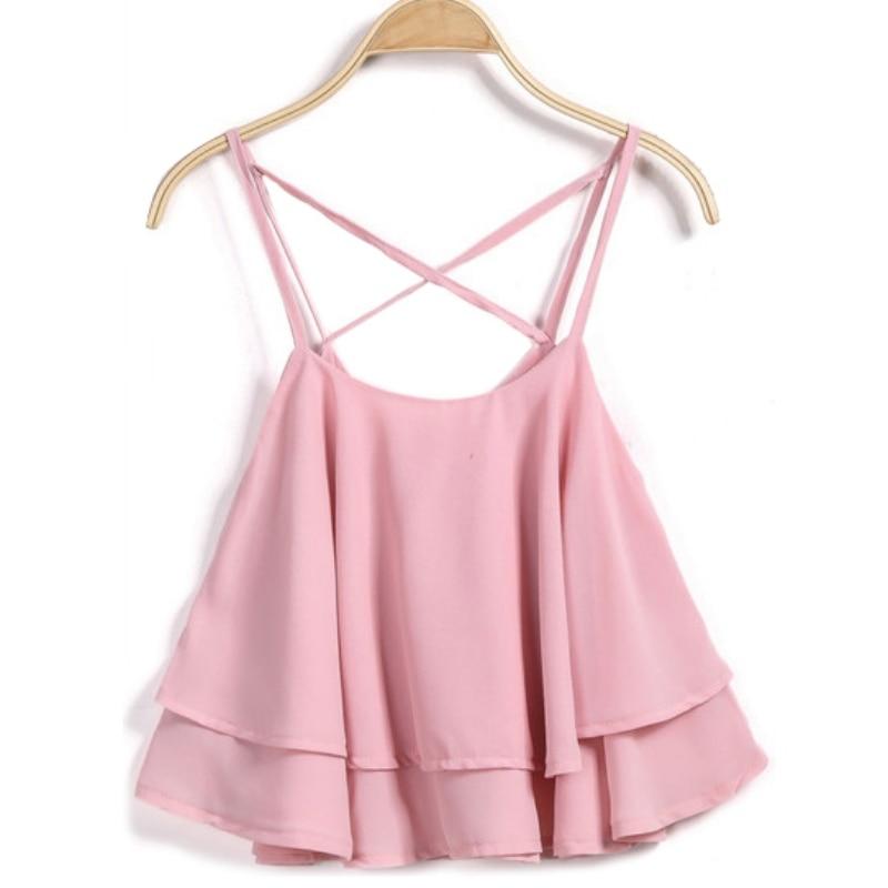2017 New Summer Fashion Women Sexy Sleeveless Cami Ruffles Party Club Beach Crop   Tops   Chiffon Soft Casual Vest   Tank     Top