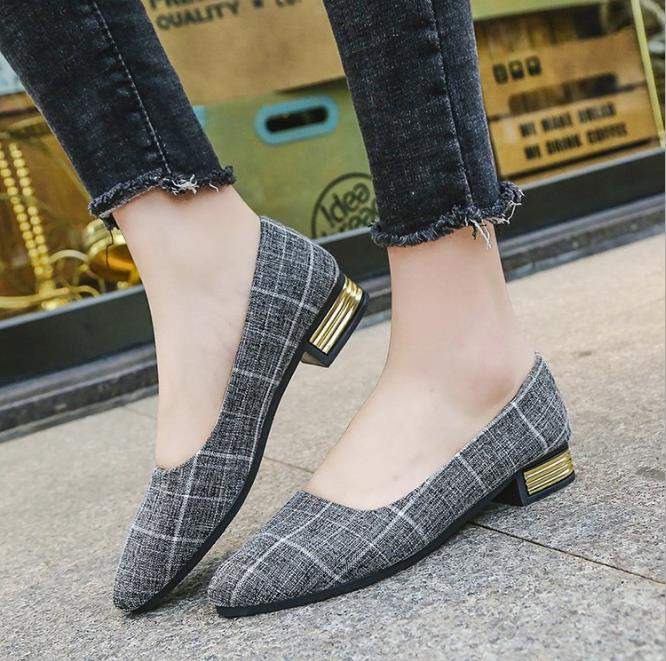 Plaid cloth shallow mouth pointed low-heeled