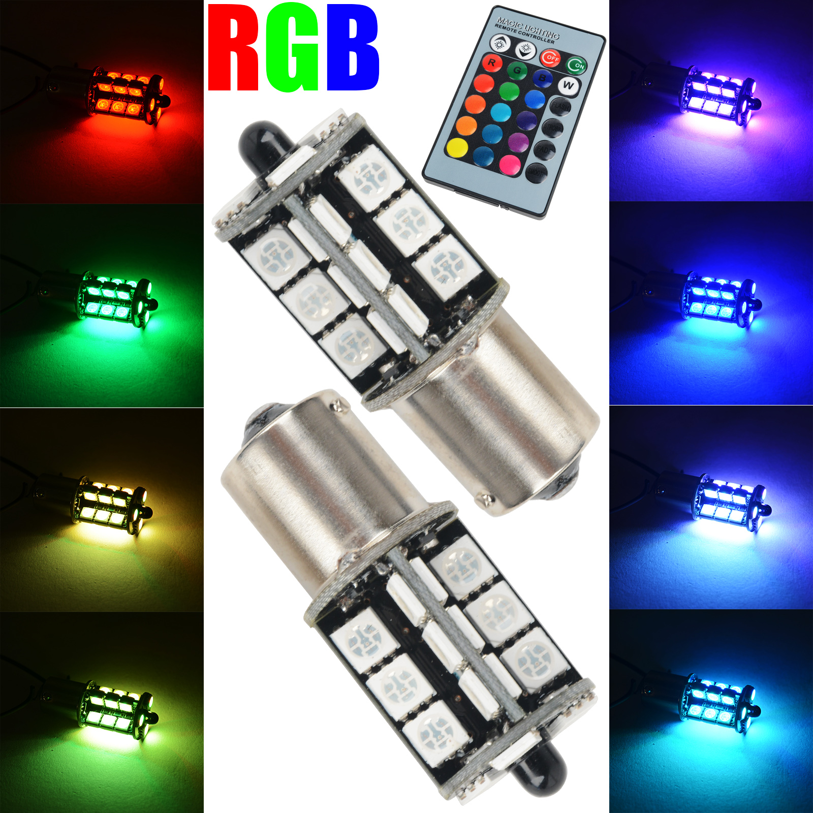 2PCS Multi-Color RGB LED Bulbs Wireless 1156 5050 27 SMD LED Decoration DRL Fog Daytime Running Light With Control Remote 2pcs brand new high quality superb error free 5050 smd 360 degrees led backup reverse light bulbs t15 for jeep grand cherokee