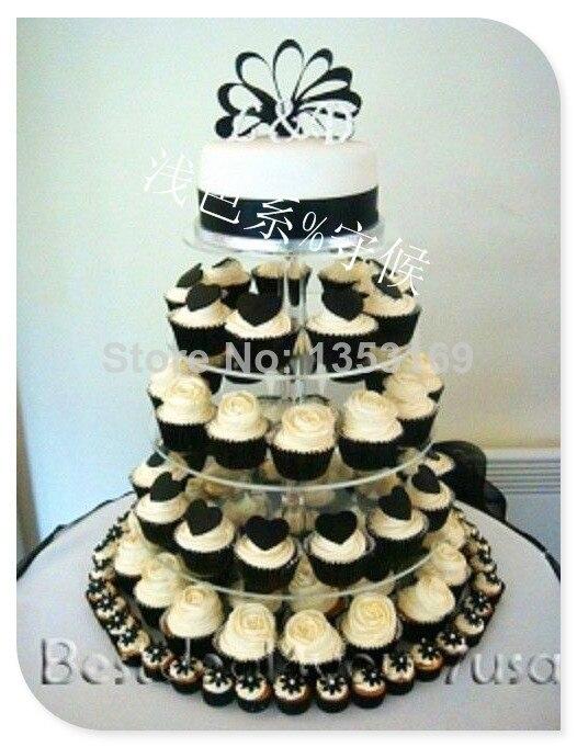 6 Tier coeur forme tige Prop clair pas cher gommage anniversaire fête décoration de plateau Cupcake Stand pour décoration de mariage