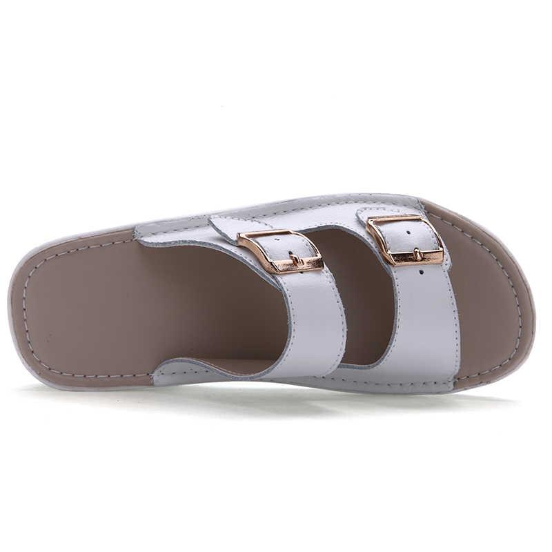 Plardin Nữ Khóa Giày Sandal Mới Dày Giày Da Phụ Nữ Nền Tảng Phụ Nữ Mùa Hè Sáng Hở Ngón Đi Biển cho Nữ