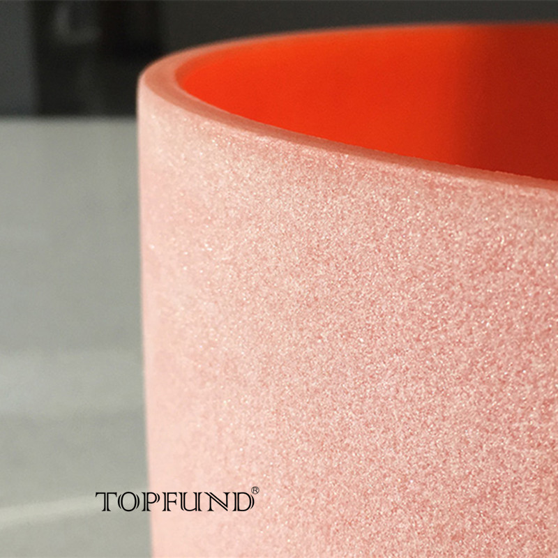 TOPFUND 432hz/perfect pitch D Note Sacral Chakra Orange Colored Frosted Quartz Crystal Singing Bowl 10