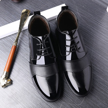 zhengou Increase Down Keep Warm Set Foot Male Shoe Leisure Time High Help Leather Black Youth Wedding Shoes Winter