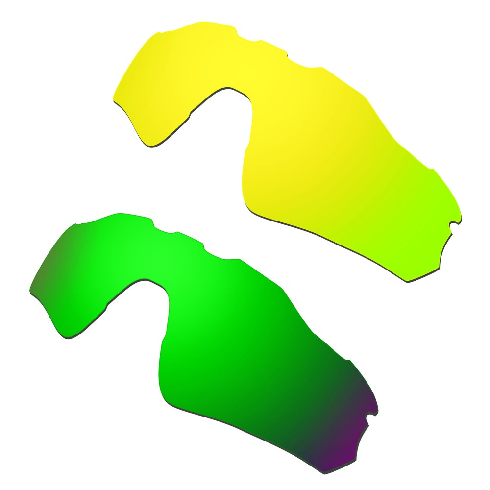 2 Pairs For  Radar EV Path Polarized Replacement Lenses Gold & Green 100% UVA & UVB Protection