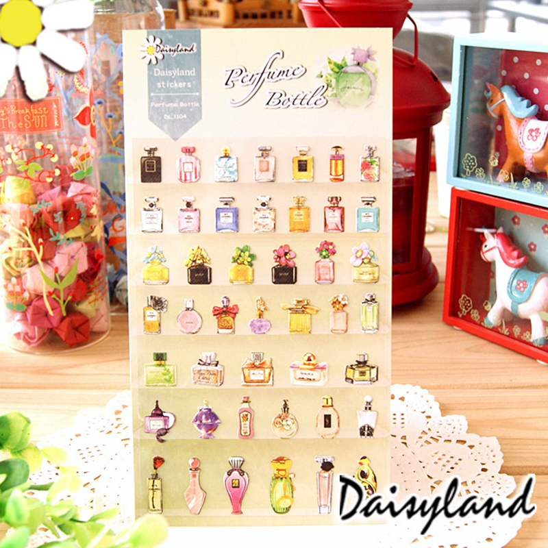1Pcs Cute Kawaii Perfume Bottle Creative DIY PVC Transparent Decorative Stickers Scrapbooking