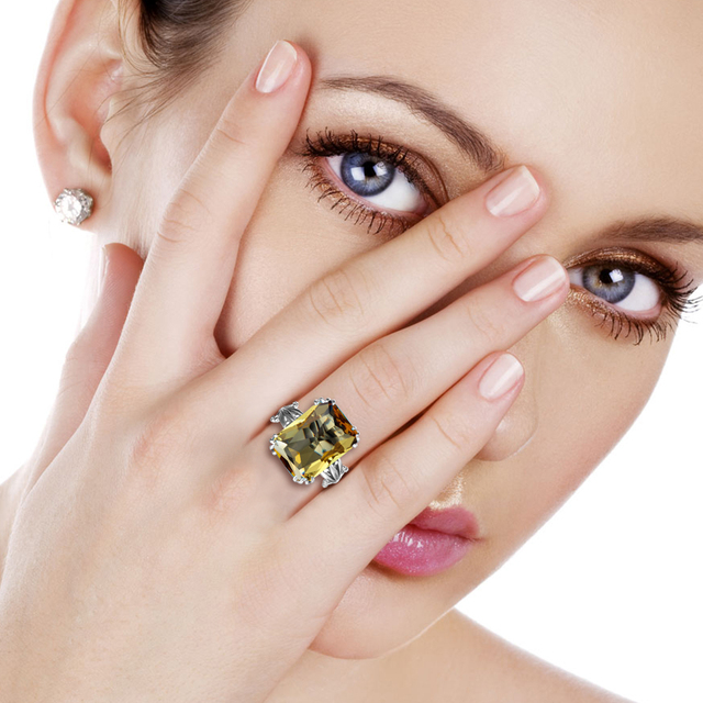 Szjinao Boho Vintage Citrine Crown Rings for Women Fashion Pure 925 Sterling Silver Wedding Party Jewelry Wholesale