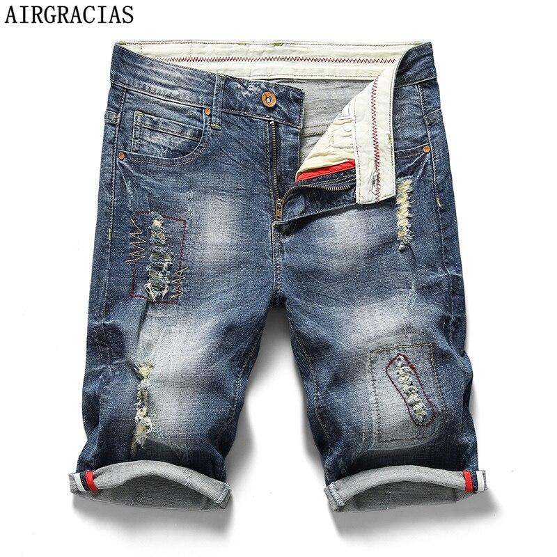 AIRGRACIAS Mens Ripped Short Jeans Brand Clothing Bermuda 98% Cotton Shorts Breathable Denim Shorts Male Summer New Fashion
