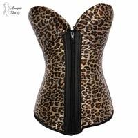 Women Sexy Waist Corsets Overbust Corsets And Bustiers Women Corselete Tops Steampunk Corset Leopard Printing Zipper