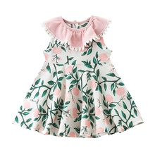 Summer Dress Cute Baby Girls Clothes Floral Pattern Sleeveless Dress Kids Toddler Pageant Cotton Sundress Fashion 2 pieces lot vacuum cleaner cloth bags dust bag filter bag for karcher t8 1 t12 1 ds 5300 nt 25 nt series cleaner accessories