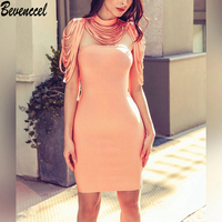 Bevenccel Women Summer Dresses 2018 New Sexy Orange O Neck Tassel Bodycon Strapless Solid Elegant Mini