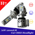 1 Set H7 Led Headlight 72W 12000lm C REE Chip Auto Car Light Fog Bulb Kit 6500K Xemon White Bulb With Cooler