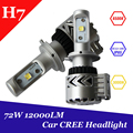 1 Unidades H7 Led Headlight 72 W 12000lm C REE Viruta Auto Luz de Niebla Del Bulbo del coche Kit 6500 K Xemon Bombilla Blanca Con Refrigerador