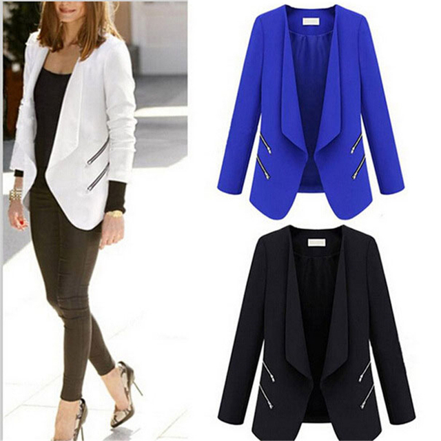 Cncool New Fashion Style Summer Winter Blazer Jackets Slim Thin Blue Cardigan Outwear Coats Business Ladies Leisure Blaser Femme