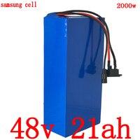 48 48V 1000W 2000W bateria v 21ah 48v 20ah bicicleta elétrica da bateria De Lítio uso da bateria samsung celular com BMS + 54.6V 2A 50A Carga