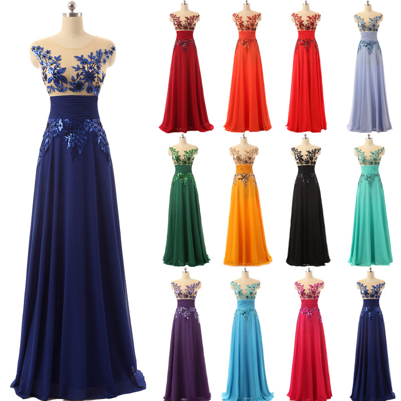 Elegant Floor Length Formal Evening Dresses Chiffon Long Party Dresses With Appliques And Sequin Hot Sale SD159