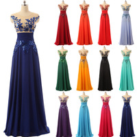 Elegant Floor Length Formal Evening Dresses Chiffon long Party Dresses with Appliques and Crystals Hot Sale SD159
