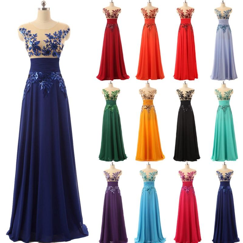 Vestidos de Noche formales de longitud hasta el suelo elegantes vestidos de fiesta largos de gasa con apliques y cristales Venta caliente SD159