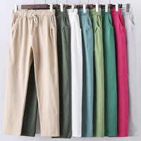Pantalon d'été à lacets femmes pantalons de survêtement Pantalon Femme couleurs bonbon coton lin Harem Pantalon décontracté grande taille Pantalon femmes C5212