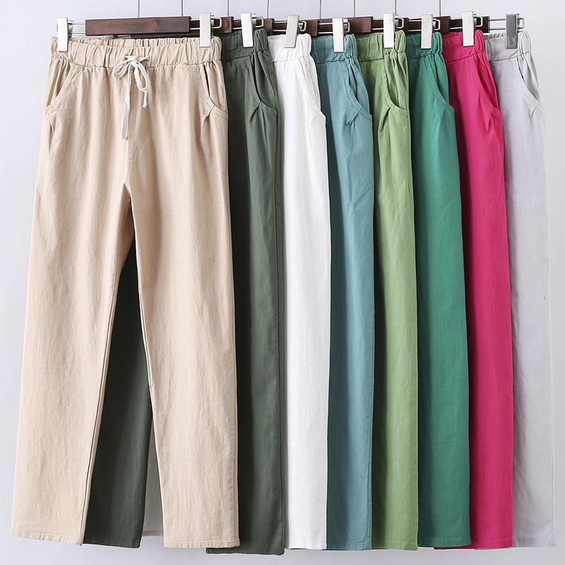 Lace Up Summer Pants Women Sweatpants Pantalon Femme Candy Colors Cotton Linen Harem Pants Casual Plus Size Trousers Women C5212