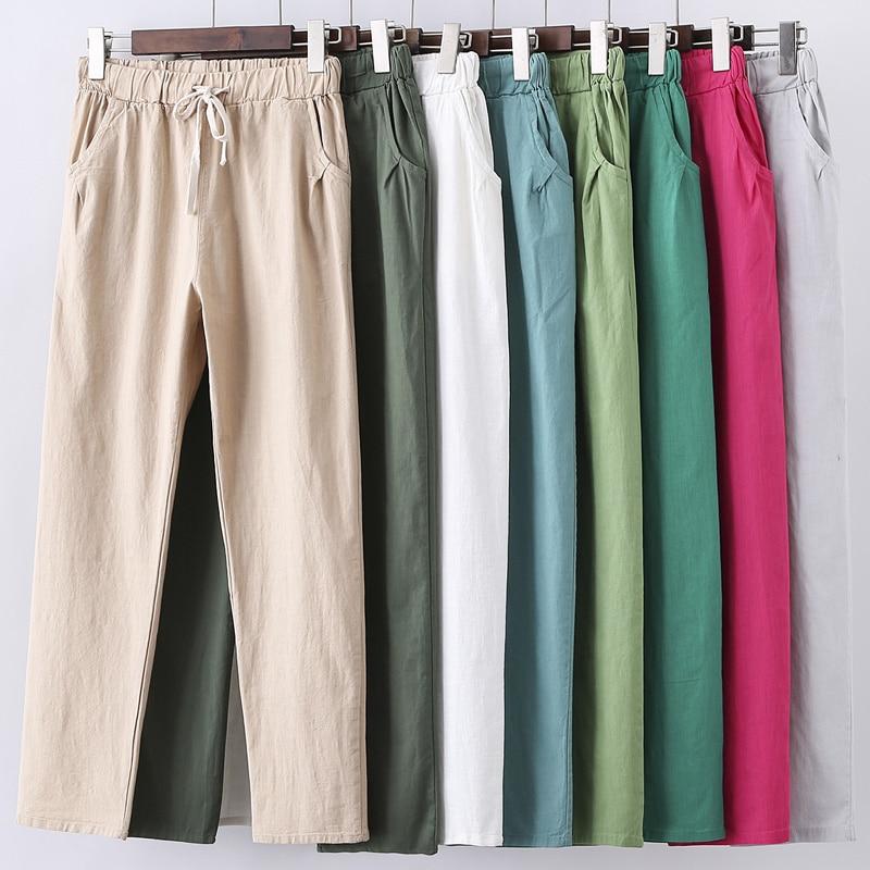 Lace Up Summer Pants Women Sweatpants Pantalon Femme Candy Colors Cotton Linen Harem Pants Casual Plus Size Trousers Women C5212