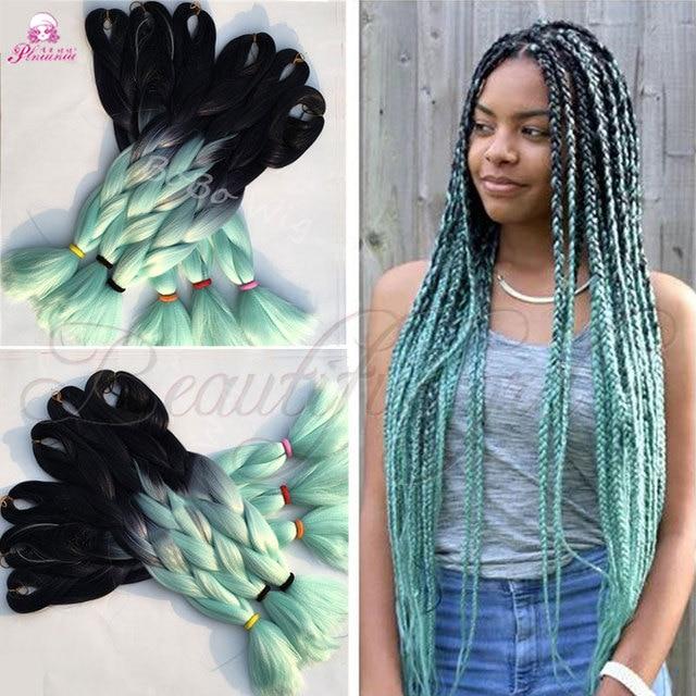 24 pouces 100g vert expression tressage cheveux tresses synth tique extensions de cheveux ombre. Black Bedroom Furniture Sets. Home Design Ideas