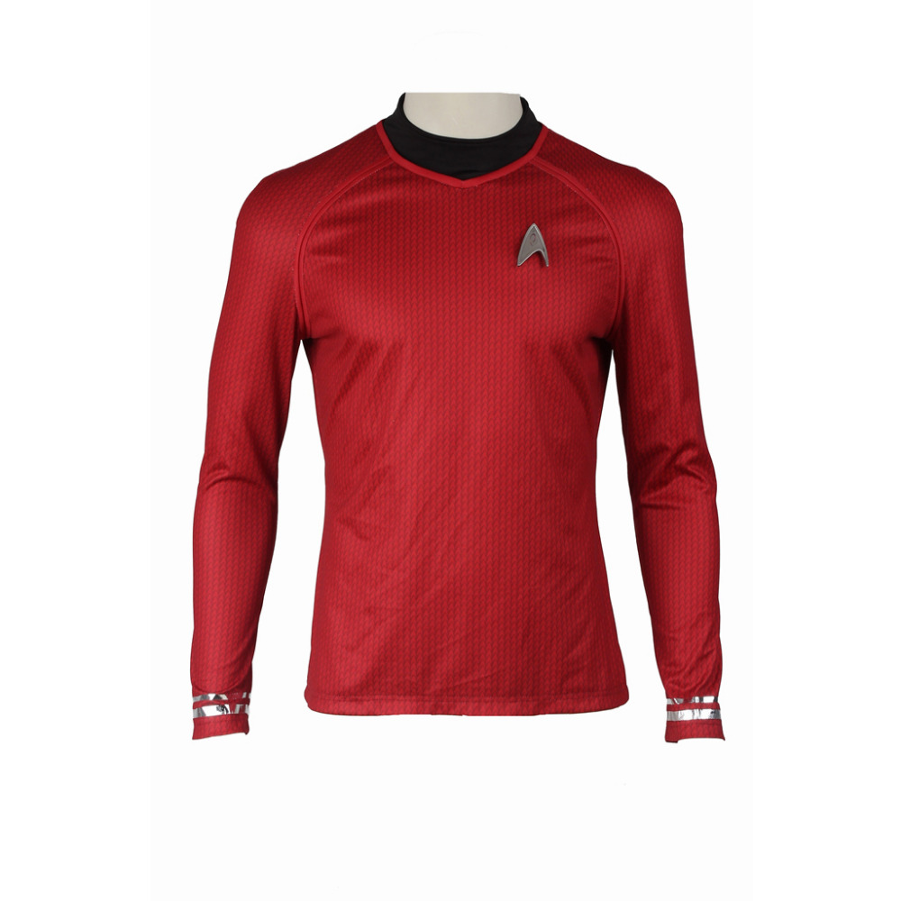 Star Trek Into Darkness Starfleet Command Team Costume Red Shirt Top Long Sleeves For Men