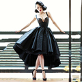 Cheap Vintage Black Prom Dress Sexy High Low Strapless Women Prom Gowns Middle East Vestido De Noiva Lady's Retro Party Gowns