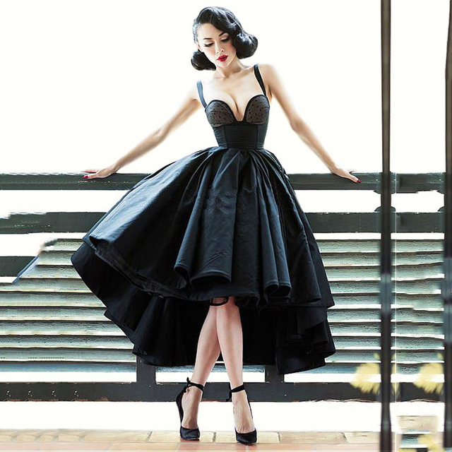 Cheap Vintage Black Prom Dress Sexy High Low Strapless Women Prom